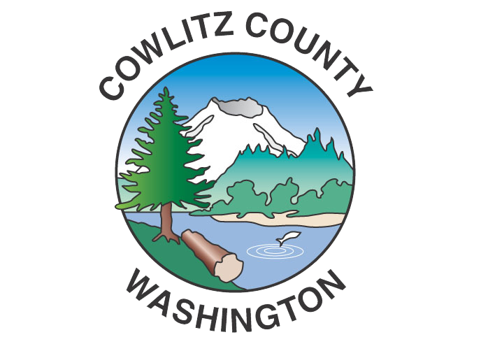 Cowlitz County's logo: an image of Mt. St. Helens with a river at the base