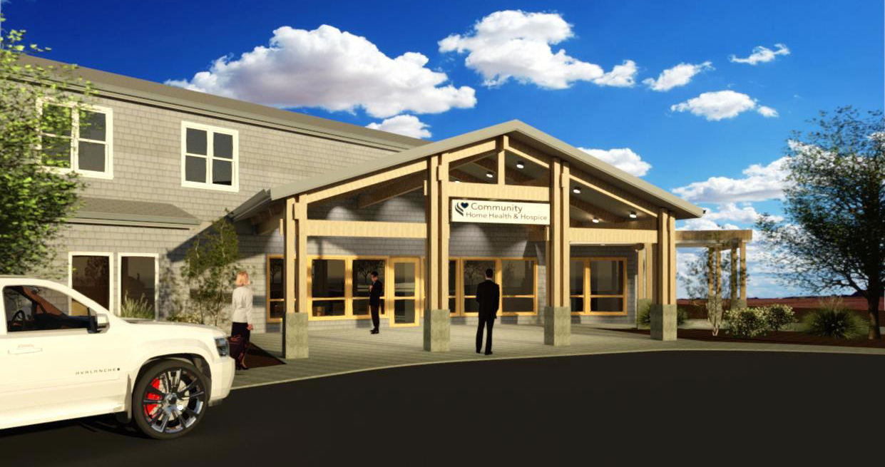 Rendering of Longview Hospice Care Center's entrance renovation