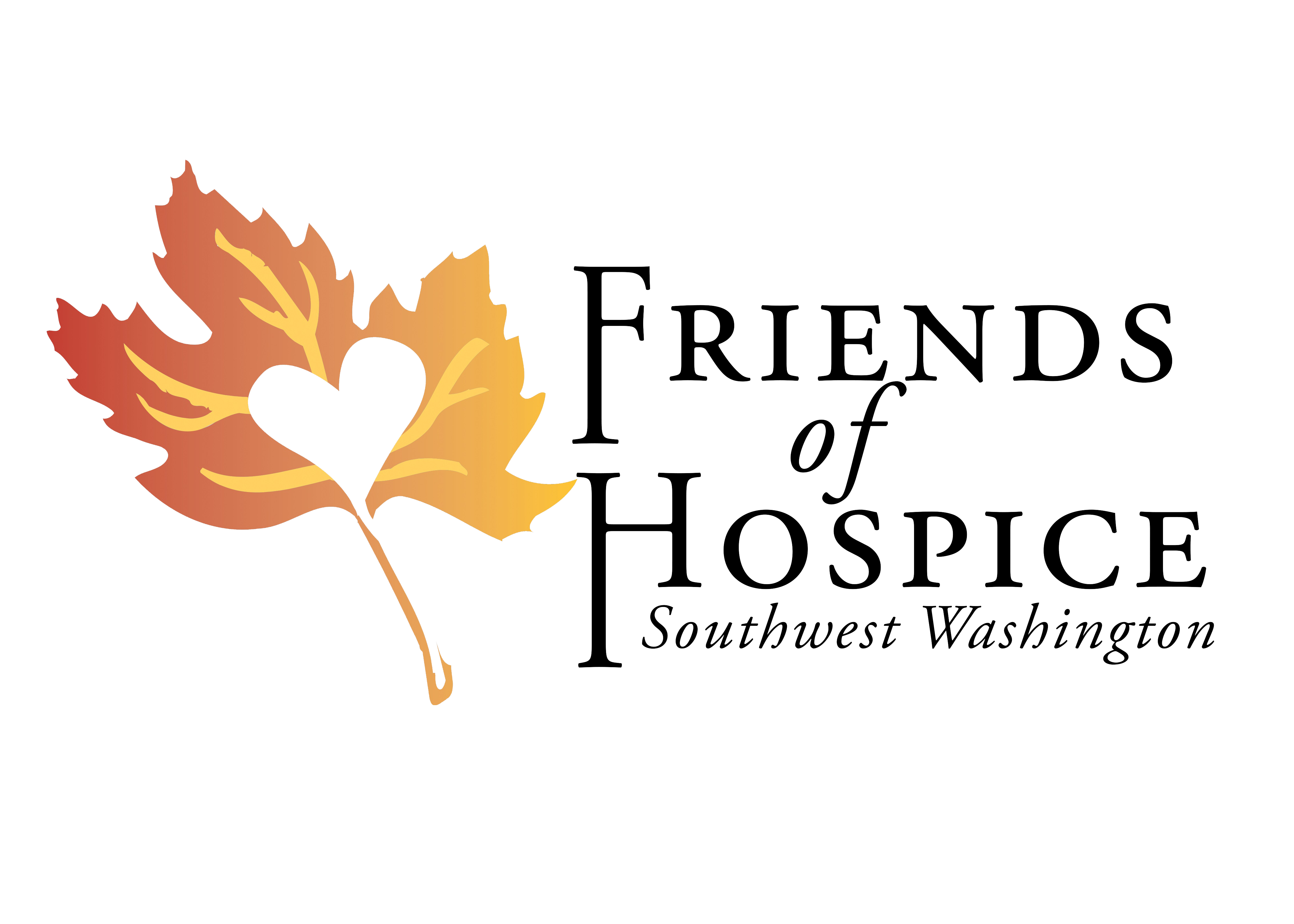 Friends of Hospice logo: maple leaf with a heart cut out