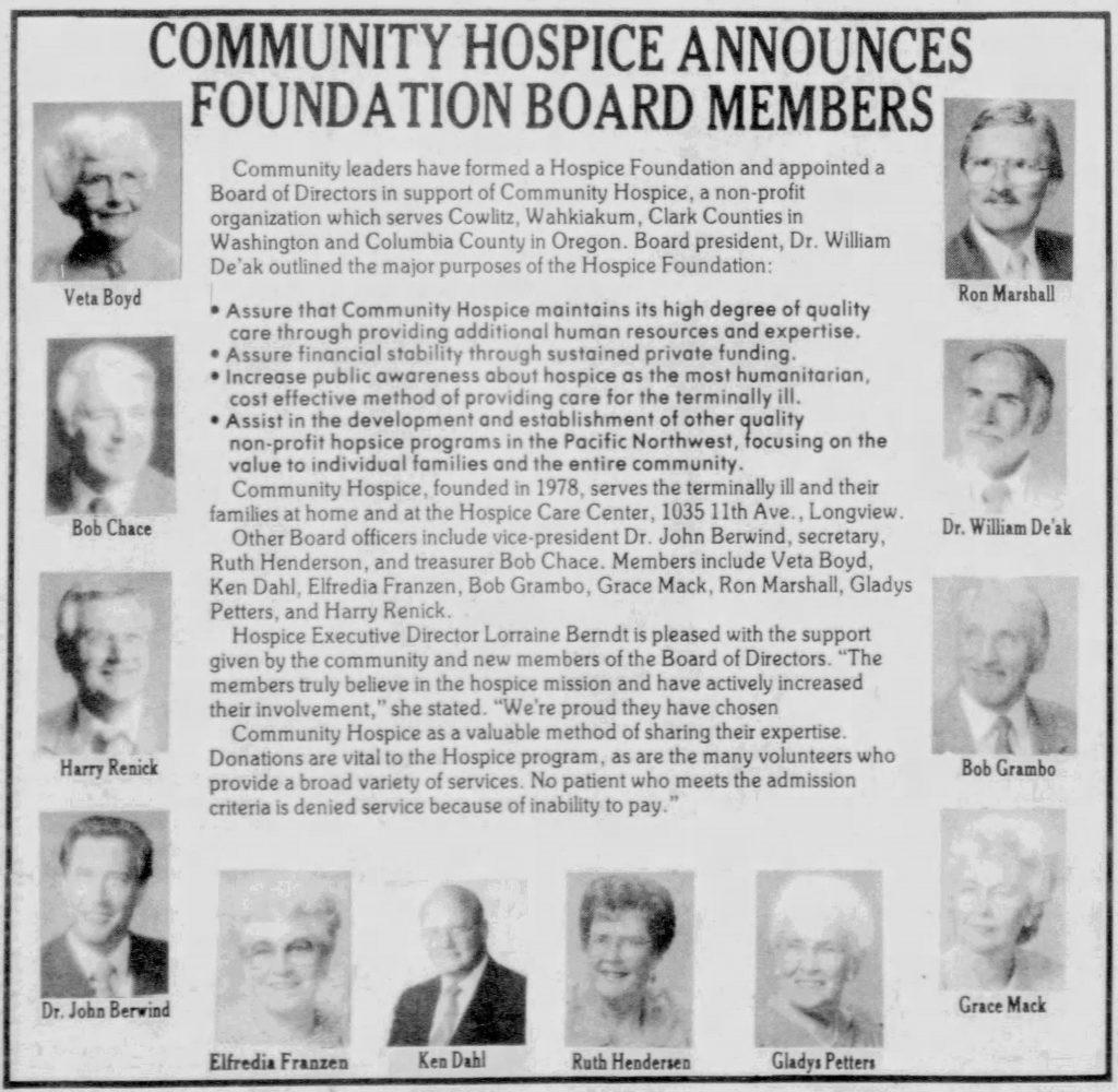 Community Hospice Foundation Established